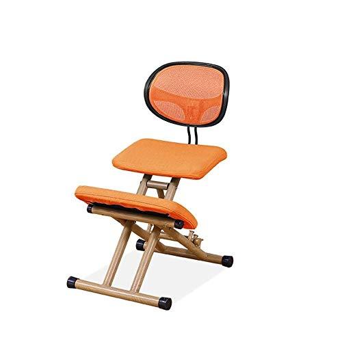 SCDBGY Ygqbgy Silla ergonómica Rodillas, Taburete Ajustable for el hogar y la Oficina - a Mejorar su Postura con un Asiento en ángulo - cómodos Cojines Gruesos (Color : Orange)
