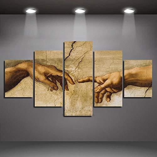 Imágenes En Lienzo Arte De La Pared Lienzo De 5 Piezas Panel Creación De Adán Mano De Dios Pintura Abstracta Decoración De Impresión HD Sala De Estar Xiaolaji-size2-Enmarcado