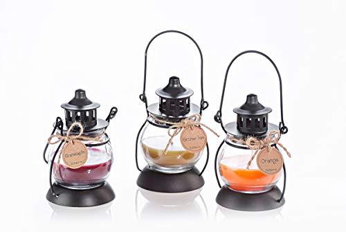 3er-Set Duftkerzen Laterna in Mini-Laterne   Duftrichtungen Granatapfel, Orange und grüner Tee   je 12 cm hoch   Laternen aus Metall und Glas