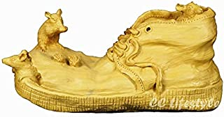 YZDSBD Statues Figurines Sculptures Exquisite Animal Carving Statue Mouse Broken Shoes Wood Craft Boxwood Decoration Wood Carving Home Decoration Gift