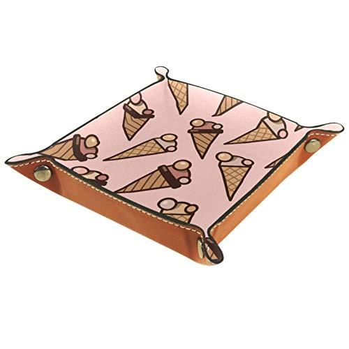 Valet Plateau Organisateur de Bureau boîte de Rangement cônes de crème glacée en Cuir Plateau de fourre-Tout sans Couture pour Un Usage Domestique