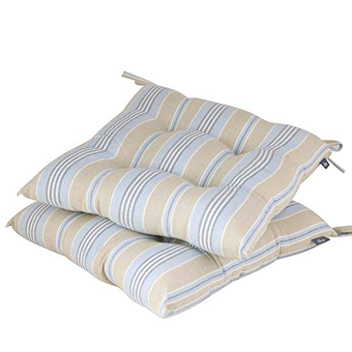 Blue & Grey Striped Seat Pad Set of 2 Dining Chair Cushions