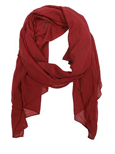 Zwillingsherz Seiden-Tuch für Damen Mädchen Uni Elegantes Accessoire/Baumwolle/Seiden-Schal/Halstuch/Schulter-Tuch oder Umschlagstuch einsetzbar - weinrot
