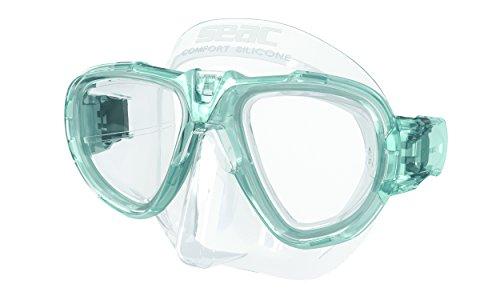 Seac Fox Tauchmaske Mit Maskenbox, transparent/Türkis/azurblau, One Size