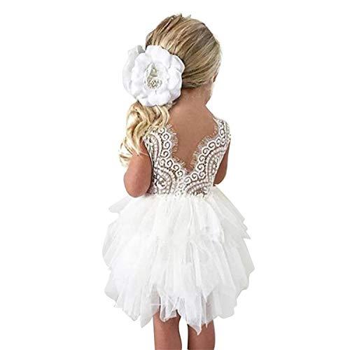 TTYAOVO Niñas de Las Flores sin Respaldo de Tul Encaje Boda Dama de Honor Princesa Vestidos de Fiesta 4-5 Años Blanco