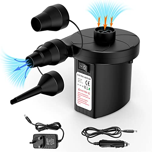Vickey Electric Air Pump for Inflatables, Airbed Pump with 3 Nozzles Inflate Or Deflate, Automatic Airbed Camping Electric Pump for Matters, Inflating Toys, Paddling Pools Swimming Pool