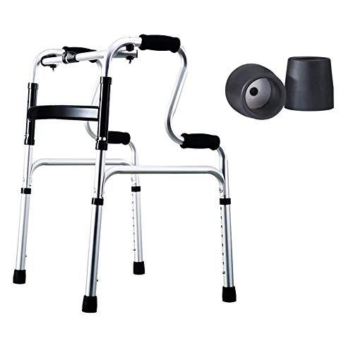 HUAQINEI Andador con Andador Marcos Ligeros para Caminar Accesorios Desmontables Andador Plegable Pierna de Ajuste de 8 Niveles Ayudas de Movilidad multifunción para la rehabilitación de Viajes ✅