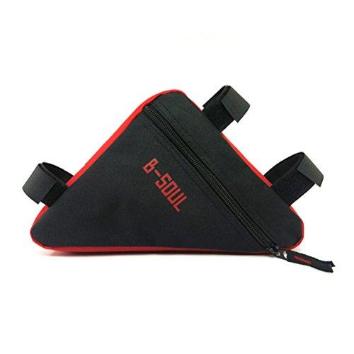 VORCOOL Bolsa Triángulo para Bicicleta Impermeable para Ciclismo al Aire Libre (Negro y Rojo)