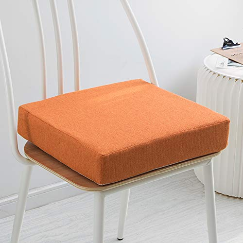 GJBHD Square Thick Sponge Seat Cushion,Solid Colour Booster Cushion Anti-Slip Chair Cushion Students Seat Pads for Home Office Dinning Chair-Orange 40x40x8cm(16x16x3inch)