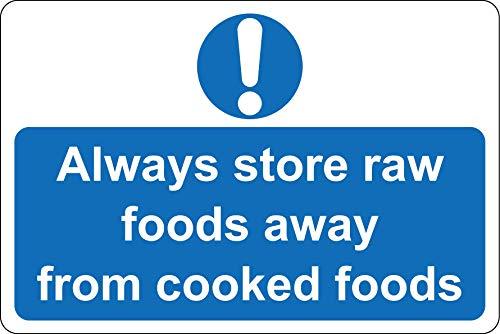 Bewaar altijd rauw voedsel uit de buurt van gekookt voedsel Keuken veiligheidsbord - Zelfklevende sticker 200mm x 150mm