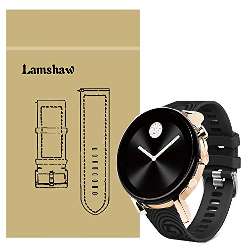 LvBu Armband Kompatibel Für Movado 2.0, Sport Silikon Classic Ersatz Uhrenarmband Für Movado Connect 2.0 Smartwatch 40mm / 42mm (Schwarz)