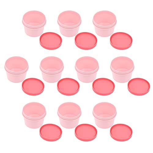 Luxshiny 10Pcs 100G Dessert Cups Met Deksels Plastic Cupcake Cups Doos Ronde Ijs Kommen Mini Mousse Cups Gerechten Borden Kommen Voor Dessert Snack Pudding Sundae Roze