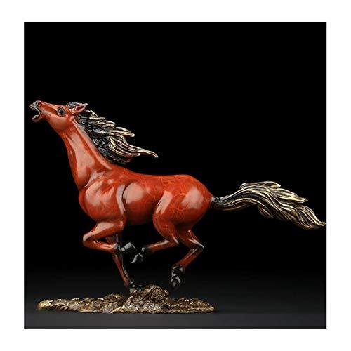 LUYIYI 11,8 Zoll galoppierenden Pferd Statue, Sprint Pferde Figurine Messing Tiere Statue Home Decor (Color : Reddish Brown)
