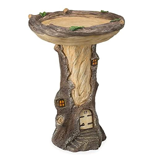 Full-Size Fairy Garden Vogelbad met miniatuur Fairy House in een boomstronk handgeschilderde all-Weather Wood-Look Hars