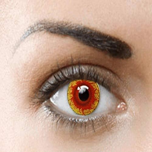 PHANTASY Eyes® Farbige Kontaktlinsen, Ohne Stärke (Red monster/Rot Krankheit) Devil/Zombie perfekt zum Halloween und Karneval, Jahres Linsen, 1 Paar crazy fun Contact linsen + Kontaktlinsenbelälter!