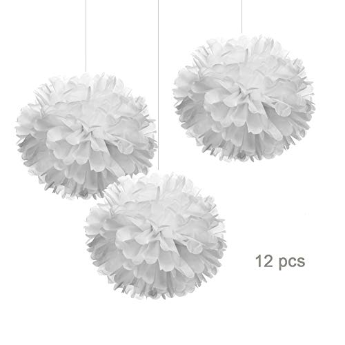 12' White Tissue Pom Poms DIY Hanging Paper Flowers for Party Decorations, 12 pcs