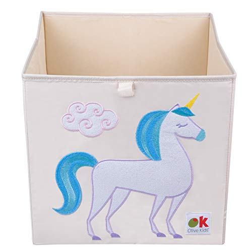 Wildkin Kids 13 Inch Storage Cube for Boys and Girls, Perfect Use in Your Childs Bedroom or Playroom, Storage Cubes Helps Keep Toys, Games, Books and Art Supplies Organized, Olive Kids (Unicorn)