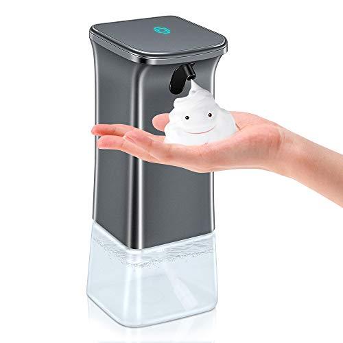 VEEAPE Dispensador de jabón automático, 350ml Sensor Infrarrojo Sin Contacto Dispensador de Jabón de Espuma con 2 Volúmenes de Espuma Ajustables para Baño Cocina Aseo Oficina Hotel(Plata)