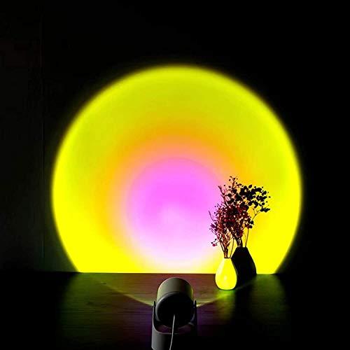 Sunset Proyection - Lámpara LED de proyección de sol, lámpara decorativa creativa para sofá, lámpara de ambiente para sala de estar, dormitorio, proyector romántico (color: montaje en pared y sol)