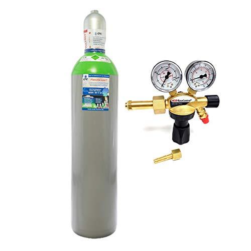 """Schutzgas 20 Liter Flasche/NEUE Gasflasche (Eigentumsflasche), gefüllt mit Mischgas 82% Argon 18% Co2 /10 Jahre TÜV/EU Zulassung/PROFI-Schweißgas MAG – Import mit Druckminderer """"SET"""