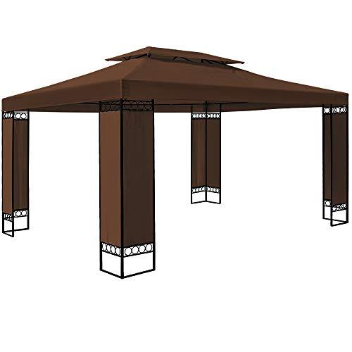 Deuba Carpa Elda Color marrón 3x4 m cenador de Exterior Grande pabellón de jardín Repelente al Agua terraza