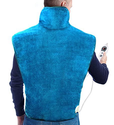 Hosome 60 x 90 cm Heizkissen für Rücken Nacken Schulter, Elektrisches Wärmekissen mit 120 Minuten Abschaltautomatik und 6 Temperaturstufen, Heizdecke Rückenwärmer mit 30 s Schnellheizung, Grün