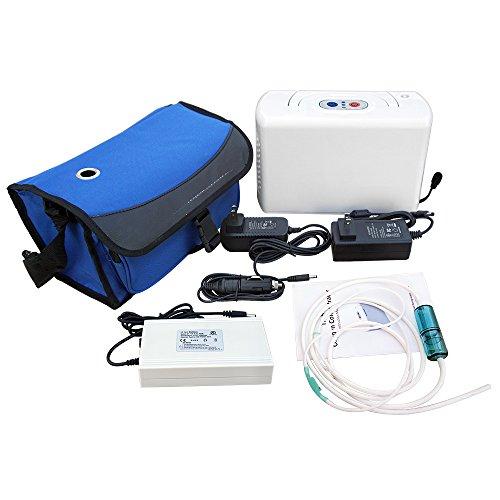 ECO-WORTHY Tragbarer Sauerstoffkonzentrator Sauerstoffgerät Oxygen Concentrator 3L Konzentrator 12V Akku 220V Komplet Set