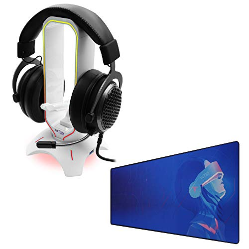 Tilted Nation RGB Headset Stand (White) + Extended Mouse Pad Large Bundle - Enhance Your Gaming - 3 in 1 Gaming Headset Stand with Mouse Bungee and USB Hub - Gaming Mouse Pad (Cyberpunk Theme)