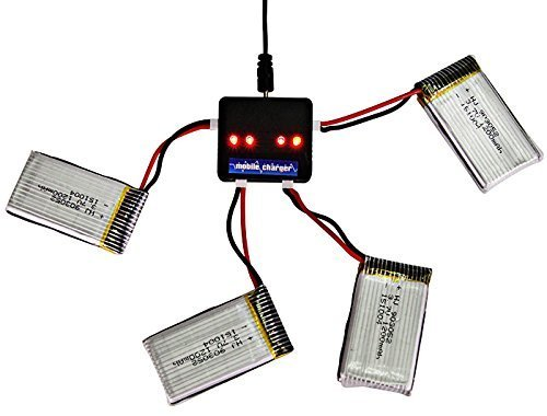 Syma YUNIQUE Deutschland ® 4 Stuck 3.7V 1200 mAh LiPo-Akkus X5SC und X5SW Quadcopter + USB-Ladegerät 1 to 4