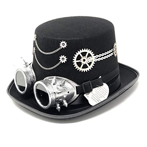 Storm buy ] Steampunk Top Hat Mad Scientist Time Traveler Feather Halloween Costume Cosplay Party with Goggles (Silver Style)