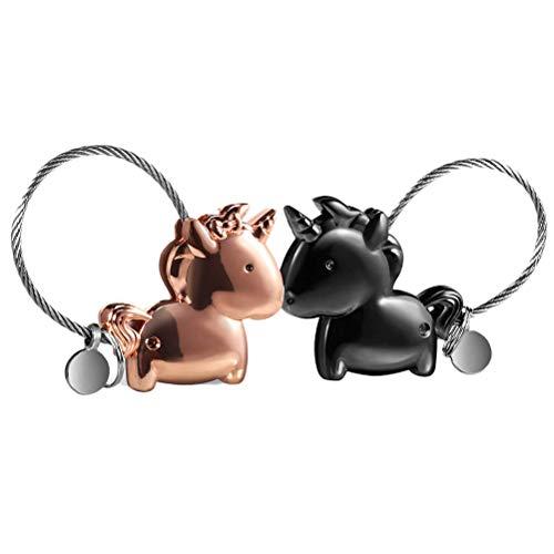 Fovor Regalos de decoración de San Valentín, 1 par de llavero magnético para parejas, con diseño de unicornio, amor de San Valentín
