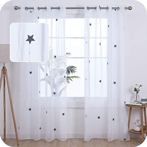 Amazon Brand – Umi Cortinas Translucidas Decorativas con Motivos Lluvia de Meteoros con Ojales 2 Piezas 140x260cm Gris