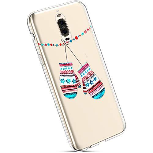 Ysimee Coque Compatible avec Huawei Mate 9 Pro Transparent Étui avec Motif Noël Christmas Housse de Protection en Silicone Souple Ultra Mince et Léger Crystal Clear Gel Téléphone Couverture,Gants