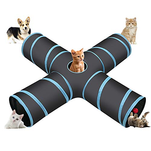 Cozy Vibe Katzenspielzeug Katzentunnel, Katze Spielzeug Hundenspielzeug Spieltunnel 4-Wege Pet Play Tunnel Tube für Katze, Welpe, Kitty, Kätzchen, Kaninchen(4-Wege, Blau)