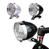 GOODKSSOP Bright 3 LED Classical Cool Cycling Bicycle Headlight Retro Front Vintage Bike Light Night Riding Safety Fog Head Lamp Headlamp Accessories with Bracket (Silver)
