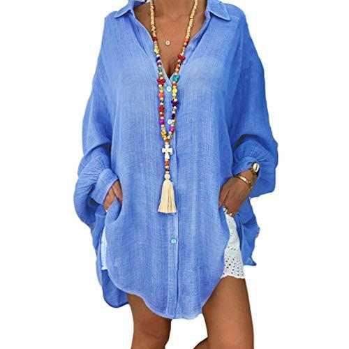 Lvguang Camisa de Manga Larga Casual Estilo Suelto de Algodón & Lino de Solapa de Color Sólido para Mujer