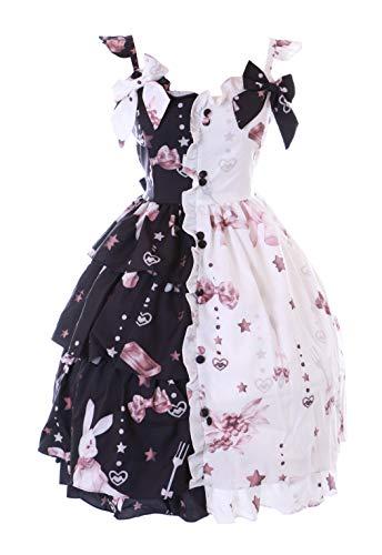 JSK-64-2 Weiß Schwarz Hase Herz Rüschen Schleife Träger-Kleid Pastel Goth Lolita Cosplay Kostüm Kawaii