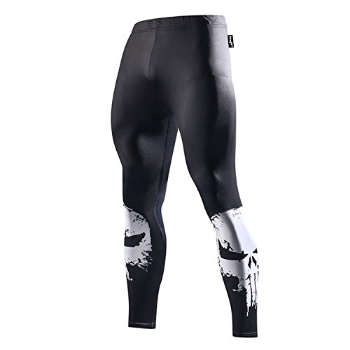 FRINGOO® Herren Kompressions-Leggings, Superhelden-Strumpfhose, Unterwäsche, Leggings, Fitnessstudio, lang, Laufen, Thermo-Workout Gr. M, Punisher - Strumpfhose