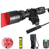 Linterna de luz roja de 1000 lúmenes, LED rojo, 350 yards, linterna de caza, resistente al agua, táctica, con interruptor de presión para la caza
