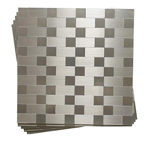Hometile Peel and Stick Tile Backsplashes, Stainless Steel Stick on...