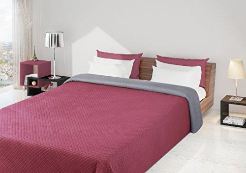 220x240 silber amaranth Tagesdecke Bettüberwurf Steppbettüberwurf Steppung zweiseitig silver amaranth Filip