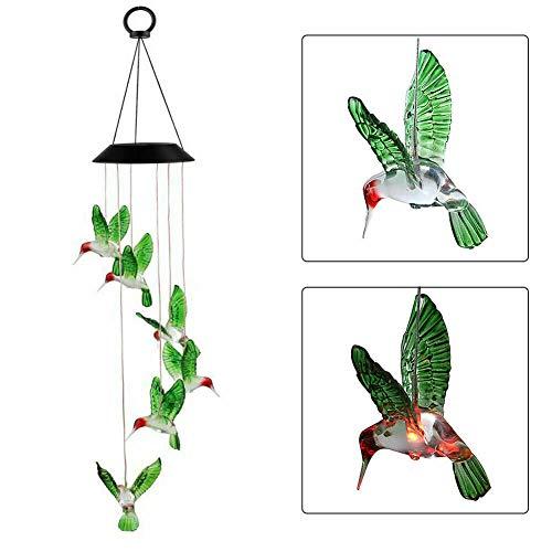 iMeshbean Solar LED Mobile Windspiele,Solarleuchten Windspiele Farbwechsel Solarlicht Windspiele Wind Glockenspiel Hängelampe Gartenbeleuchtung Solar Wind Chime für Außen Garten (Grüner Kolibri)