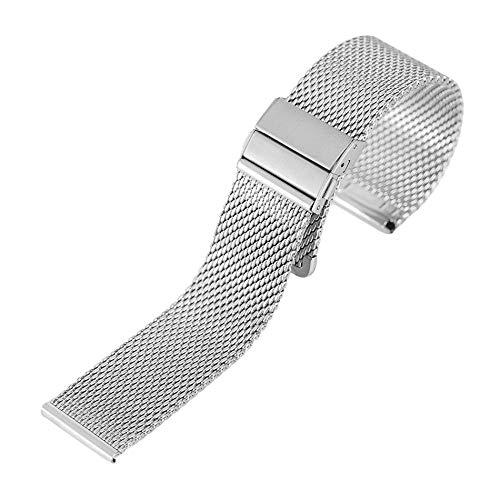 RHBLHQ 18/20 / 22mm Bandas de despliegue de Malla de Acero Inoxidable de la Hebilla de Reloj Correas de Reloj Reemplazos Band (Color : Silver, Size : 20mm)