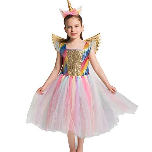 Yeesn Niñas Unicornio de Disfraces de Malla de Tul Vestidos de tutú Vestido Halloween Fiesta temática de cumpleaños Cosplay (S, Tul Arcoiris)