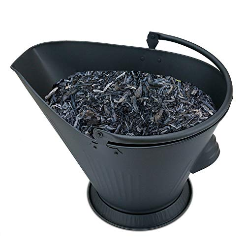 Hisencn Wider Fireplace Ash Bucket, Coal/Hot Wood Carrier Pail Container Tools for Fire Pits, Hearth, Hot Wood/Pellet Stoves Indoor and Outdoor, Galvanized Iron Metal