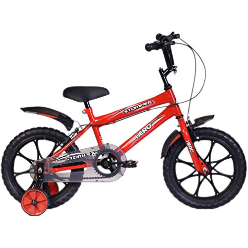 Hero Kids Stomper 16T Steel Single Speed Junior Cycle, (12 Inch, Red, Wheel size: 16 inch, Frame size: 10 inch)