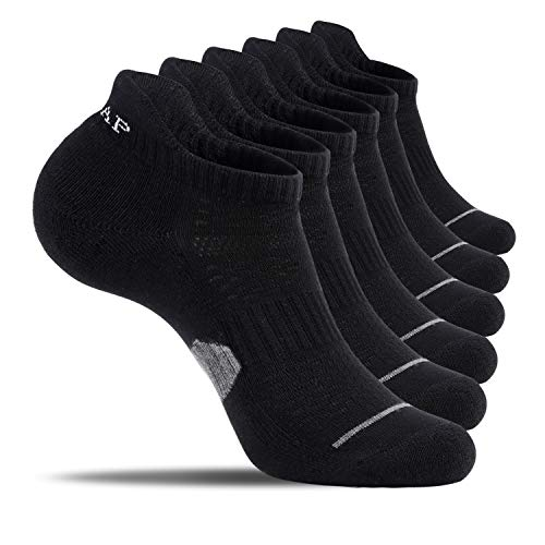6 Pairs Athletic Ankle Socks,No Show Cotton Socks For Women And Men,Low Cut Cushioned Tab Sports Running Socks