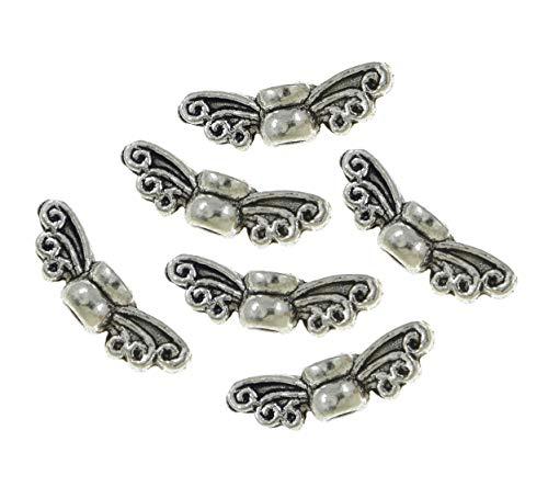 Perlin - 20 Flügel Engel Metallperlen Engelsflügel Perlen 12mm Metall Spacer DIY für Armbänder, Halskette F42 x2