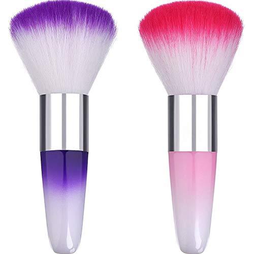 DILISEN 2 Pièces Doux Nail Art Dust Remover Poudre Brosse Nettoyant pour Acrylique et Maquillage Poudre Blush Brosses (Rose, Violet) (Rose, Violet)