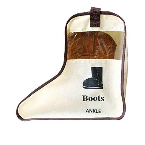 Norcci Schuhaufbewahrungstasche Stiefeltasche Stiefelbeutel Schuhe Stiefel Boots Organizer Tasche für Home Reise Tragbar (#A Beige, Höhe- 29cm)